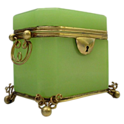 REDUCED Spectacular Antique French Green  Opaline Double Handle Casket Hinged Box