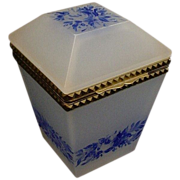 "REDUCED Antique French Opaline Tall Hinged Box  "" Blue Flowers"""