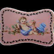 """SALE Very Fine Palais Royal Opaline Scent Casket """"Adorable Putti"""""""