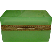 SALE Antique French Green Opaline Casket Hinged Box
