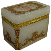 """Magnificent  Antique French Opaline Casket Hinged Box  """"Putti"""""""
