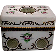 "Antique French White Opaline Cut to Clear Casket Hinged Box""Hand Enamel """