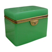 Magnificent Antique  French Green Opaline Casket Hinged Box