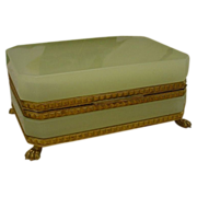 "SALE Magnificent Antique French Yellow Green Opaline Casket Hinged Box""Paw Feet"""
