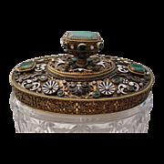 "Gorgeous Antique Austrian Jeweled Cut Crystal Box ""FAB Enamel"""