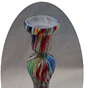 SOLD Antique Bohemian End of Day Glass Candle Stick