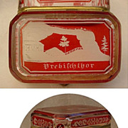 SOLD Rare Antique Bohemian Red Cut t o Clear Spa Hinged Box