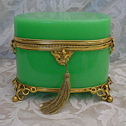 SOLD Fabulous Palais Royal  Green Opaline Scent Casket