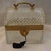 """SOLD Antique French Cut Crystal Casket   """"Ornate Handle"""""""