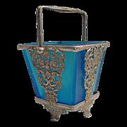 Magnificent Antique French  Blue Art Glass Bon Bon Sweetmeat Dish