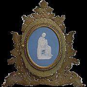 SALE Very Fine  Rare Bronze Blue Jasperware Easel Back Frame