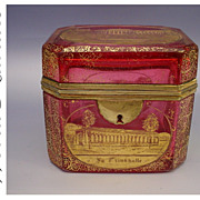 SOLD Antique Bohemian Cranberry Spa  Casket Hinged Box