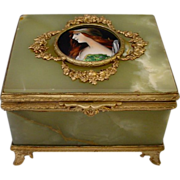 "Antique French Onyx Gilt Bronze Jewelry Casket Box  ""Enamel Miniature Portrait Plaque"""