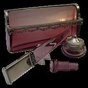"""Magnificent Antique French Lavender  Crystal  Silver Desk Set """"Four Piece Set"""""""