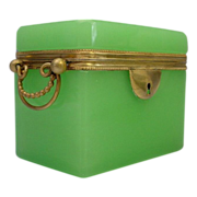 """Antique French Green Opaline Double Handle  Casket Hinged Box  """"RARE GREEN"""""""