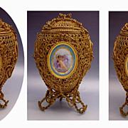 """SOLD Magnificent Palais Royal  Dore' Bronze Potpourri Casket """"Three Large Paris Porcela"""