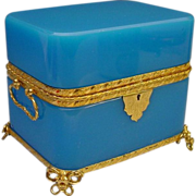 "SALE Grandest Antique French Double Handle Blue Opaline Casket ""BIG and BEAUTIFUL!"""