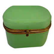 "SOLD Antique French Green Opaline Hinged Box ""OVAL"""