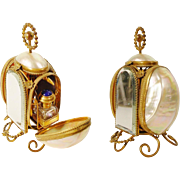 "SALE 1880 Palais Royal Mother of Pearl Scent Casket ""TWIN JEWELED TOP SCENT BOTTLES"""