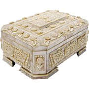 """SALE 11"""" Antique Mother of Pearl Casket Hinged Box """"RARE FOOTED BASE """""""