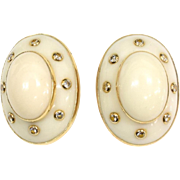 """SALE Trianon 14KARAT Yellow Gold   White Coral and Diamond Earrings  """"Unmarked Design by"""