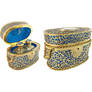 "REDUCED 1880  Palais Royal Blue Opaline Scent Casket "" DOUBLE HANDLES & COVERED IN GILT O"