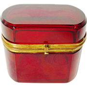 """Antique Bohemian  Red Oval Hinged Box """" BEAUTIFUL"""""""