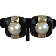 SALE 14KARAT Yellow Gold  Mabe Pearl, Diamond, &  Black Onyx Earrings