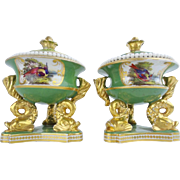 "REDUCED Exquisite Chamberlain Worchester Porcelain Hand-painted Porcelain Desk Set  ""DOLP"