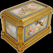 """REDUCED Antique Sevres Styles Porcelain Bronze Casket """"FIVE PORCELAIN PLAQUES""""  THE"""