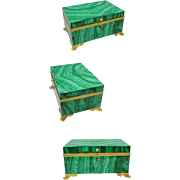 "SALE 1850 French Russian Malachite Casket Hinged Jewelry Box ""GRANDEST"""
