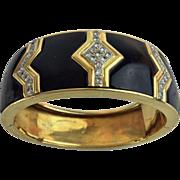 SALE Black Onyx and Pave Diamond Bangle Bracelet