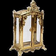 "SALE Antique 34"" French Miniature Bronze Tabletop Curio Vitrine  ""PUTTI"""