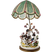 """Antique French Meissen  Style Porcelain Putti  Lamp """"Grandest Beaded Shade"""" & Porcel"""