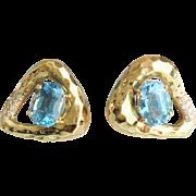 "SALE Beautiful 14KARAT Blue Topaz Hammered Earrings '""STUNNING SHAPE"""