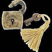 SALE Antique Miniature Brass Lock & Key