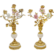 "SALE 14""  Antique French Bronze Marble Candelabras  PAIR   ""Porcelain Flower & Bronz"