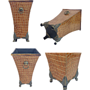 """REDUCED English Faux Alligator Cachepots Vases   """"Double Handles & Exquisite Foot Base"""""""