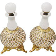 """SALE PAIR Antique French White Opaline Scents Bottles """" STUNNING LACE ORMOLU"""""""