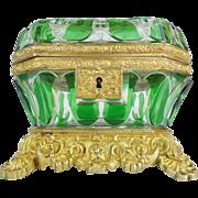 """SALE Exquisite Antique Baccarat Cut Bronze Casket Hinged Box. """" THE BEST & RARE"""""""