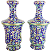 """SALE Magnificent 12 ½"""" Chinese Cloisonné  Vases  """"AWESOME COLORS"""""""