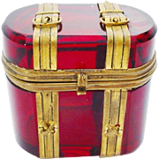 "SALE Antique Bohemian Ruby Hinged Box ""Miniature Trunk Shape with Buckle & Straps"""