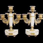 "SALE Antique French 10"" Marble Bronze Three Light Candelabra Pair"