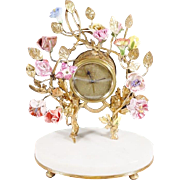 "Antique French Clock w Porcelain Flowers "" Alabaster Plinth"""