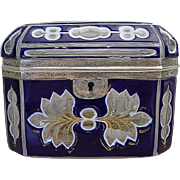 REDUCED Antique Bohemian Cobalt and White Cut to Clear Casket with Silver Mounts