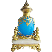 SALE BIG Palais Royal Blue Opaline Scent Bottle 'REGAL FOOTED  STAND""