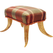 SALE Antique Foot Stool with HORN LEGS