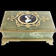 "SALE Antique Green Onyx Jewelry Box ""THREE PORTRAITS"" ."