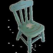 "SALE Antique Painted Doll Miniature Chair ""Paint Loss,Chip, Nips"""