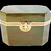 SALE Rare 1845 Fredrich Egernann Lithyalin Glass Sugar Box Casket